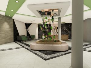 corporate interior design hotel reception full view
