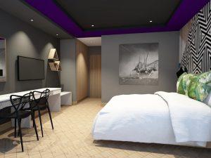 corporate interior design hotel standard room bedroom angle 2