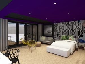 corporate interior design hotel standard suite bedroom and living space