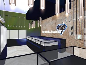 corporate interior design retail jewellery store main counter 1