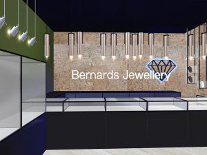 corporate interior design retail jewellery store main counter 2