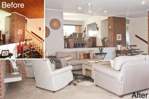 residential interior design De Goede living area before and after 2