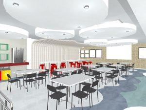 corporate interior design canteen seating 1