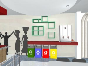 corporate interior design canteen recycling station