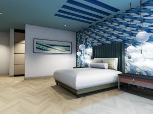 corporate interior design hotel themed room bedroom angle 3