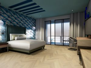corporate interior design hotel themed room bedroom angle 2