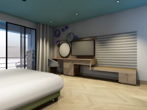 corporate interior design hotel themed room bedroom angle 1