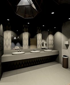 corporate interior design hotel public bathroom angle 2