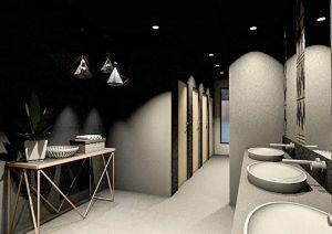 corporate interior design hotel public bathroom angle 1