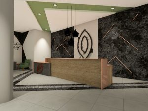 corporate interior design hotel reception desk