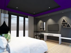 corporate interior design hotel standard room bedroom angle 1
