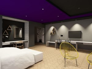 corporate interior design hotel standard suite bedroom and living area