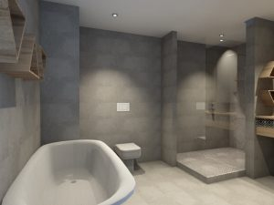 corporate interior design hotel standard suite bathroom