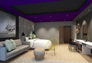 corporate interior design hotel superior open plan bedroom and living area