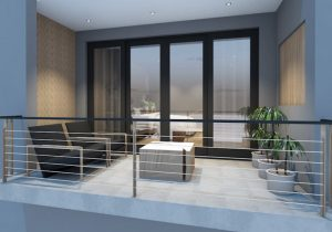 corporate interior design hotel room balcony