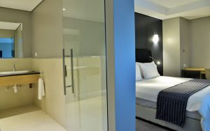 hotel interior design room with bathroom